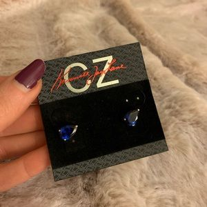 Deep Blue Pear Shaped Studs